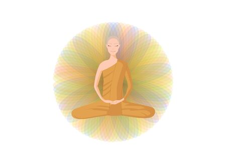 monk meditation in front of color circle on white Illustration