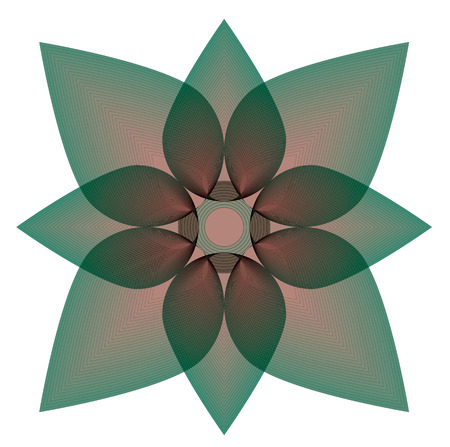 Vector file of greenlotus with geometric shapes on white background. Illustration
