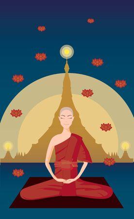 ector of Myanmar monk meditation in front of Shwedagon pagoda