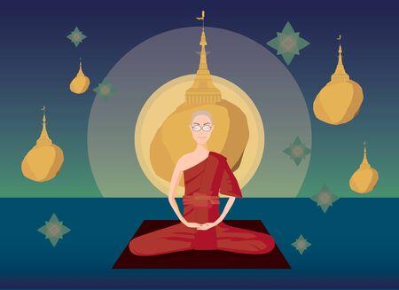ector of Myanmar monk meditation in front of kyaikhtiyo pagoda Illustration