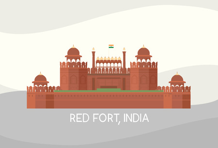 vector of Red fort, India