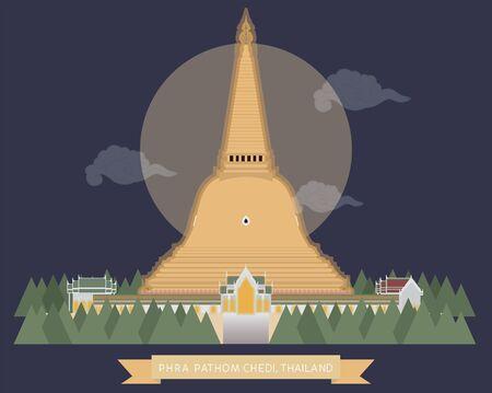 vector of Pra Pathom Chedi at night, Nakorn Pathom, Thailand, Biggest pagoda in Thailand