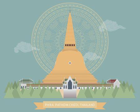 vector of Pra Pathom Chedi, Nakorn Pathom, Thailand, Biggest pagoda in Thailand Illustration