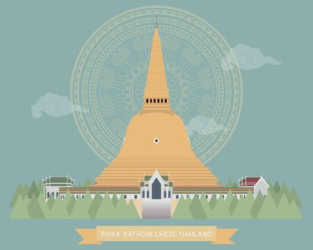 vector of Pra Pathom Chedi, Nakorn Pathom, Thailand, Biggest pagoda in Thailand Ilustração