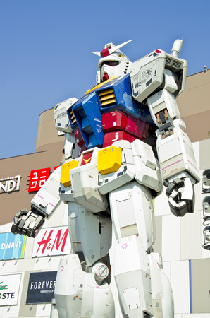 Gundam RX 78 at the Diver City Plaza, Odaiba,Tokyo, Japan.  20 September, 2013