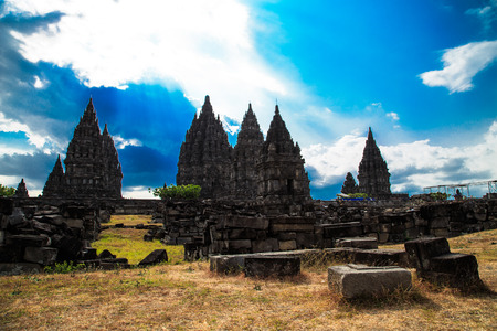 Temple prambanan or groups Prambanan temple of Hinduism  Is the largest Hindu temple in Indonesia  Stock Photo