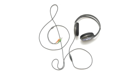 customer records: Headphones on a white background
