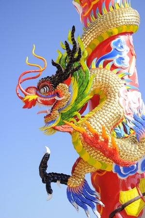 Chinese dragon on the pole close up2 photo