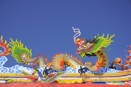 Chinese dragon on the roof close up photo