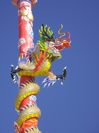 Chinese dragon on the pole photo