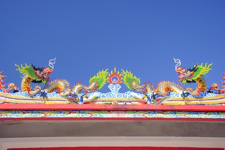 Twin Chinese style dragons on the roof photo
