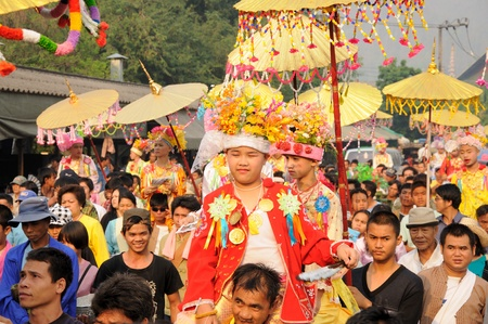 thai monk: A boy in Poi Sang Long, festival in April, Ceremony of boys becomes to be novice monk,  during in parade around Mae hong son town.