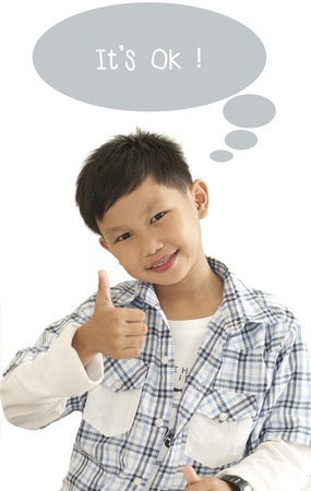 thumps up: Asian kid thumps up with text ad box