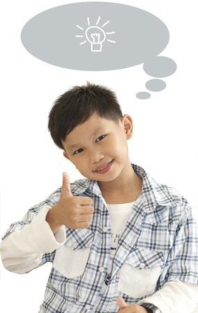 thumps up: Asian kid thumps up with text box Stock Photo
