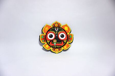 hindu goddess kali colored face statue is in white background 스톡 콘텐츠