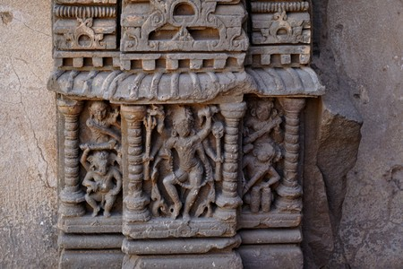 india - rajasthan - jaipur - march 28, 2018, archeological relics sculpture, there are some idols stuck on the stone, some are musicians and a dancer. 에디토리얼