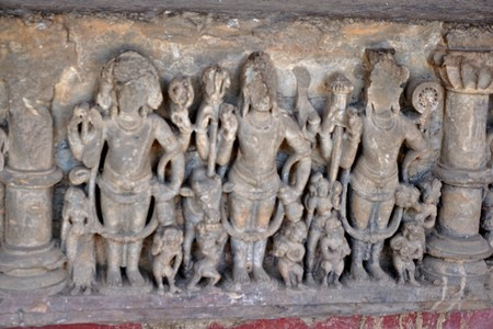 india - rajasthan - jaipur - march 28, 2018, archeological relics sculpture, three indian god has some idols. 스톡 콘텐츠 - 133070174
