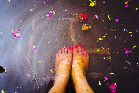 ujjain- m.p.- india- 9 november 2019 female legs inside the water