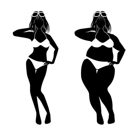 다이어트에 간다 여자 일러스트