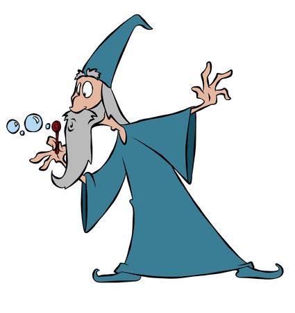 A wizard making bubbles with his magic wand.