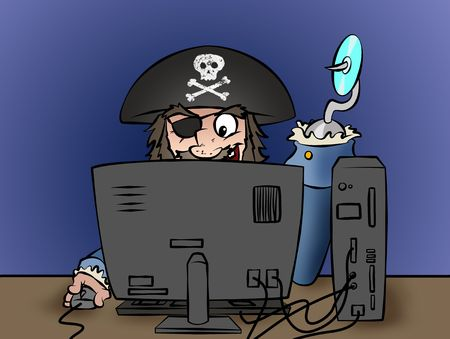 A computer pirate illegally duplicating software or music! photo