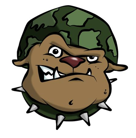 fangs: A mean bulldog in an army or military helmet. Stock Photo