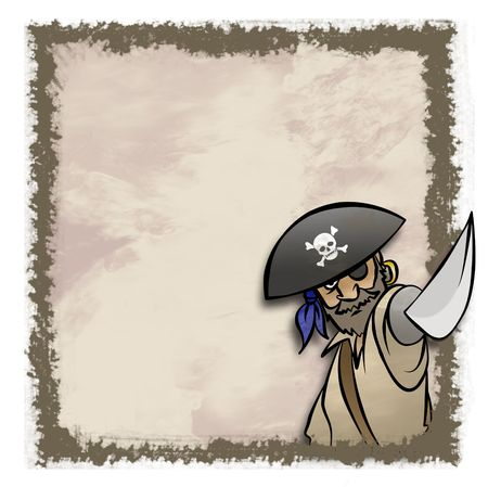 A cartoon pirate in an artistic frame. Maybe an invitation. photo