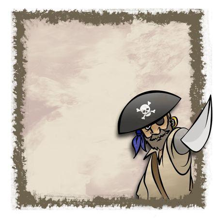 Een cartoon pirate in een artistiek kader. Misschien een uitnodiging.