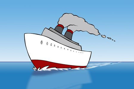 A cartoon cruise ship out on the open sea. photo