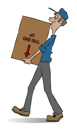 carrying box: A mover carrying a box. He doesnt seem to care whats in the box.