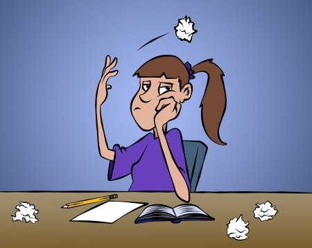frustrated: Dont ya just love it when you cant come up with anything? Stock Photo