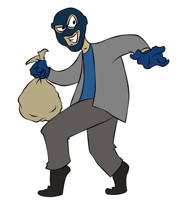 burglars: Cartoon Thief Stock Photo
