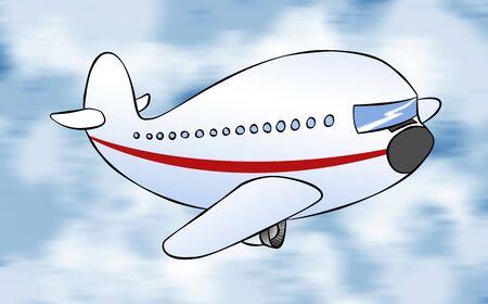 liner transportation: A cartoon passenger jet flying to its destination.