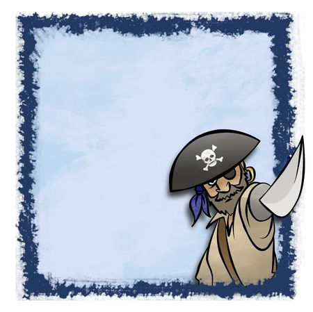 A cartoon pirate in an artistic fram. Maybe for an invitation. Фото со стока