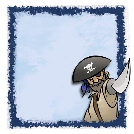 Een cartoon piraat in een artistieke fram. Misschien voor een uitnodiging.  Stockfoto - 6106188