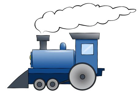 steam locomotive: A blue cartoon train chugging along with room for text on the train or in the smoke. Stock Photo