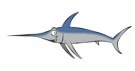 A smiling, cartoon swordfish swimming along in the ocean, or maybe mounted on the wall.