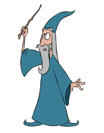 spells: A cartoon wizard waving his wand, about to cast a spell.