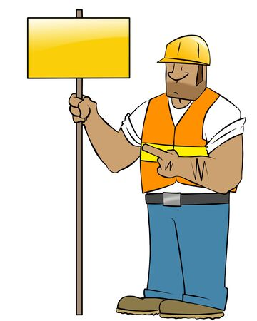 A cartoon construction worker holding a sign. He looks like he means business.