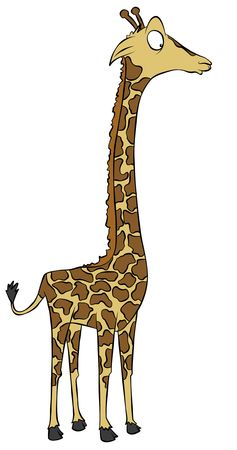 A cartoon giraffe looking rather surprised.