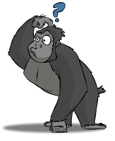 baffled: A cartoon gorilla who is very perplexed at something or other.