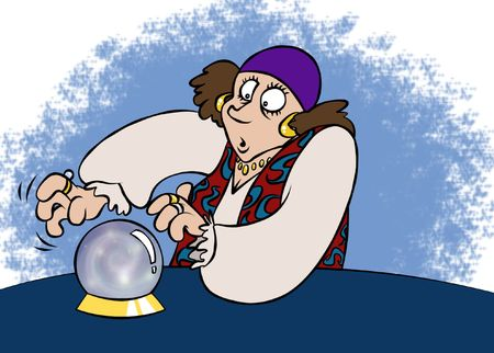 A fortune teller gazing deeply into her crystal ball.