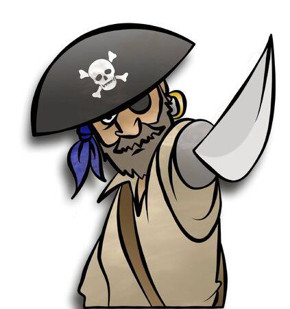 Een piraat dreigt u met zijn zwaard.  Stockfoto - 6143766