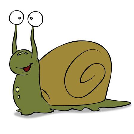 A cute cartoon snail.