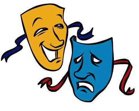 劇場の芸術に関連付けられているコメディ悲劇のマスク。