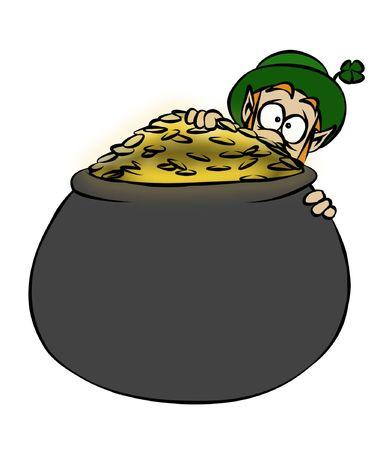 A leprechaun protecting his pot of gold.