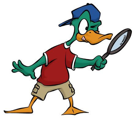 A cartoon duck searching for some clues using his handy magnifying glass.