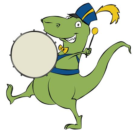 A marching cartoon dinosaur banging on his drum.