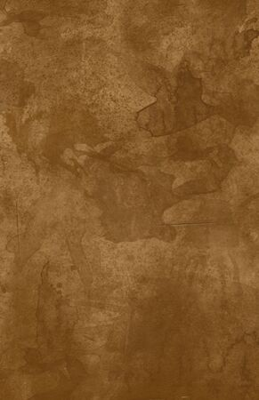 A worn, stained, brown leather background.