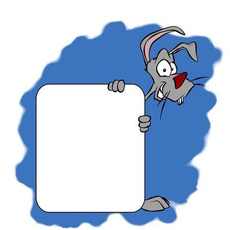 A cartoon bunny holding a blank sign.